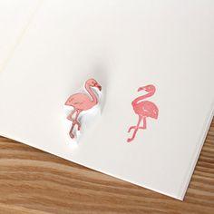 Flamingo-Stempel. Hand geschnitzt Stempel. Handgefertigte Stempel. Unmontierter Stempel. Niedlichen Stempel für Geschenkpapier, Schrott buchen.