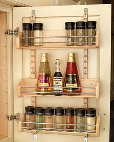 Rev-A-Shelf RS4ASR.21 16.13 in. Adjustable Door Mount Spice Rack by Rev-A-Shelf. $78.19. Min opening 16-3/4 W.; Color: Maple.; Unit includes three shelves to hold spices up to 2-1/4 diameter, and two 25 adjustable standards; Door mount brackets provide 5 of up and down adjustment to ensure that screws mount into door rails.; Classic maple hardwood with a clear finish.. Classic maple hardwood with a clear finish. Unit includes three shelves to hold spices up to 2-1/4 diameter, an...