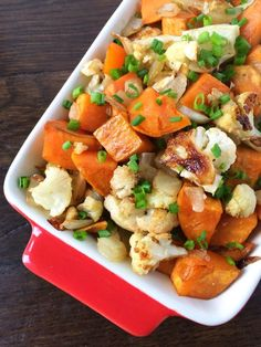 Balsamic Roasted Sweet Potatoes, Cauliflower and Onions