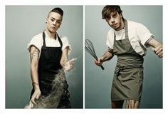 great portraits from Phil Fisk - chefs with food tattoos