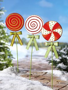 Vintage Christmas Candy Glittered Outdoor Metal Yard Stakes