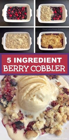 Quick & Easy Berry Cobbler Recipe made with frozen fruit, cake mix, oats, walnuts and butter. Looking for easy dessert recipes? This homemade crisp berry cobbler is always a crowd pleaser! Cake Mix Cobbler, Fruit Cobbler, Mixed Berry Cobbler, Berry Crumble, Dump Cake Recipes, Dessert Recipes, Fruit Deserts Recipes, Oats Recipes, Fruit Cake Mix