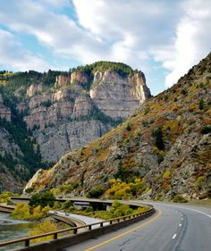 Glenwood Canyon, Colorado. I-70 follows the Colorado River through the scenic 12 mile canyon.
