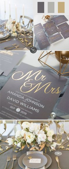 Classic Grey And Gold Foil MR & MRS Wedding Invitations The post Shop Your Unique Wedding Invitations Online appeared first on Wedding. Grey Wedding Decor, Gold Wedding Colors, Green Gold Weddings, Gold Wedding Decorations, Wedding Ideas, Affordable Wedding Invitations, Wedding Invitations Online, Gold Invitations, Elegant Wedding Invitations