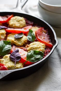 "Vegan Caprese Baked Pasta - [caption id="""" align=""alignnone"" width=""900""] Vegan Caprese Baked Pasta[/caption]    What a luscious pasta - vegan and gluten free to boot - and so simple t"
