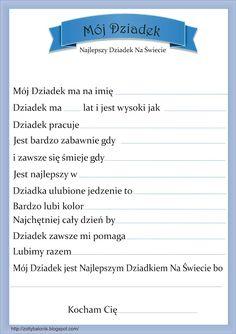 Dzień dziadka Diy Gifts For Kids, Diy For Kids, Crafts For Kids, Learn Polish, Polish Language, Teacher Inspiration, Gifted Kids, Grandparent Gifts, Grandparents Day