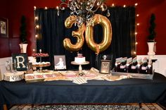 Masculine decor for surprise party, men's 30th birthday