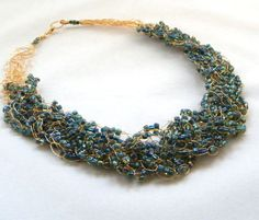 Peacock Blue Necklace Wire Crochet Necklace by BuddingCreations1