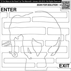 Coloring for adults page of an elephant maze