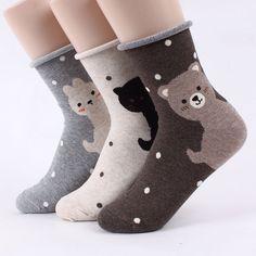 HELLO ANIMALS socks 5pairs=1pack #women #girl #lovely #cats #bear #rabbit