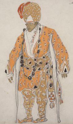 "Costume design by Léon Bakst (1866-1924), 1911, A Beggar for ""Dieu Bleu"", opaque and transparent watercolor with graphite pencil."