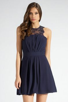 Navy Pleated Skater Dress with Lace Insert