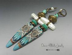Bohemian Style EARRINGS Tribal Shield turquoise stones pearls