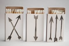 Arrow Set - (Set of 3) Match Boxes, Stocking Stuffer, Match Book. $12.00, via Etsy.