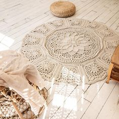 Сrochet rug round area rug 72 in doily rug yarn lace mat Crochet Rug Patterns, Crochet Rugs, Double Crochet, Single Crochet, Crochet Mandela, Doily Rug, Rug Yarn, Round Area Rugs, Floor Decor