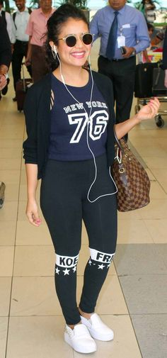 Neha Kakkar at the Mumbai airport. #Bollywood #Fashion #Style #Beauty #Hot #Cute