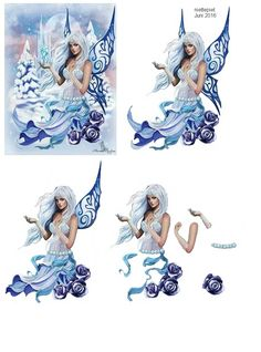 knipvel fairy winter Christmas Sheets, 3d Christmas, 3d Cards, Cool Cards, Decoupage Printables, 3d Sheets, Image 3d, Fairy Crafts, 3d Fantasy