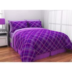 purple bed sets | Latitude Purple Plaid Complete Bed in a Bag Bedding Set