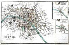 Vintage map; Paris 19th Century
