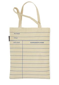 Bibliotheque Trek Tote by Out of Print: looks just like a library card! Love this!
