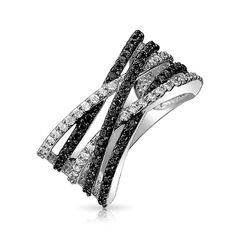 Princess Kylie Clear Cubic Zirconia Standing Cross Ring Sterling Silver