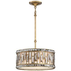 "Paola 18"" Wide Rustic Gold Crystal Drum Pendant - #9H593 