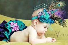 The Royal Collection -' Princess Daisy's Peacock '-Fancy Pants Ruffled Diaper Cover with Matching Vintage Inspired Headpiece-PHOTO PROP. $59.95, via Etsy.