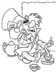 coloring page Alice in Wonderland on Kids-n-Fun. Coloring pages of Alice in Wonderland on Kids-n-Fun. More than coloring pages. At Kids-n-Fun you will always find the nicest coloring pages first! Colouring Pics, Cool Coloring Pages, Disney Coloring Pages, Coloring Pages For Kids, Coloring Books, Coloring Sheets, Alice In Wonderland Pictures, Alice In Wonderland Drawings, Alice In Wonderland Tea Party