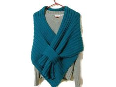 Hand Knit Teal Shawl with Knitted Loop | craftingmemories - Knitting on ArtFire
