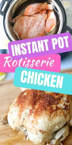 Replace your store bought Rotisserie Chicken with this Easy Instant Pot Rotisserie Chicken. It makes the most tender, flavorful, juicy whole chicken! This easy chicken recipe is flavored with a homemade rotisserie seasoning and is perfect for eating for a Instant Pot Whole Chicken Recipe, Cooking Whole Chicken, Instant Pot Dinner Recipes, Stuffed Whole Chicken, Low Carb Chicken Recipes, Cooking Recipes, Beef Recipes, Easy Recipes, Icing Recipes