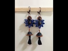 Quilling earrings purple sphere with tassel - YouTube