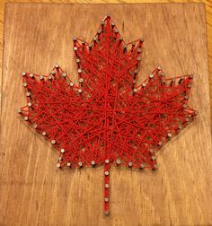 String Art Board: Maple Leaf [Made to Order], Canada Canada Day, Canadian Flag, Rustic Decor, Cottage Decor Canada Day Crafts, Nail String Art, Canada 150, Wood Wallpaper, Leaf Art, Diy Art, Wood Art, Art Boards, Decoration