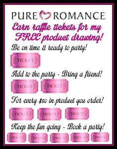 Earn raffle tickets in a drawing for free product pure romance by crystal CrystalPureRomance406@gmail