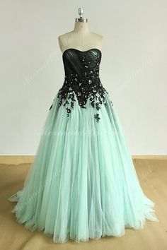 Strapless Vintage mint green A line prom dress, wedding dress with black lace an. Strapless Vintage mint green A line prom dress, wedding dress with black lace and breads. Country Wedding Dresses, Wedding Dresses Plus Size, Modest Wedding Dresses, Elegant Wedding Dress, Dress Wedding, Bridesmaid Dresses, Fall Wedding, Sparkle Wedding, Blue Wedding