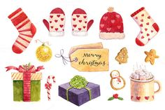 Watercolor Сhristmas set by Mariart_i on @creativemarket