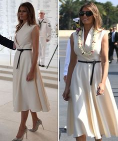 Melania Trump Dress, First Lady Melania Trump, Milania Trump Style, Travel Dress, Dress Images, African Fashion Dresses, Elegant Outfit, Classy Outfits, The Dress