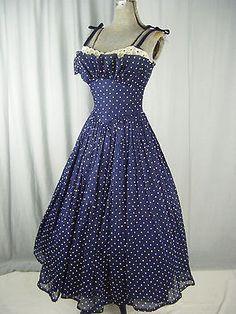 FRED PERLBERG Vtg 50s Navy Dots Dress w/Cream Lace-Bust 34/XXS