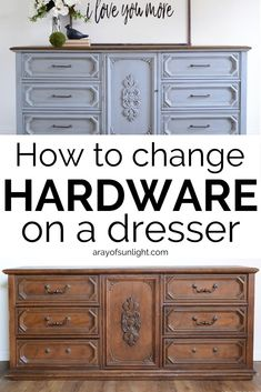 How to Change Hardware on a Dresser How to Change Hardware on a Dresser A Ray of Sunlight Painted Furniture Makeovers and Home Decor arayofsunlight Furniture nbsp hellip makeover kitchen Bedroom Furniture Makeover, Diy Furniture Redo, Painted Bedroom Furniture, Furniture Ideas, Upcycled Furniture, Furniture Layout, Garden Furniture, Dresser Hardware, Furniture Hardware