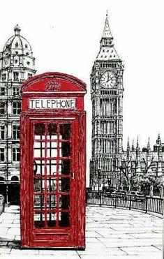 Red London phone booth Big ben Original Ink by TheOriginalDrawings Vintage Diy, Vintage Images, London Phone Booth, Foto Transfer, Urban Sketching, London Calling, Travel Posters, London England, Belle Photo