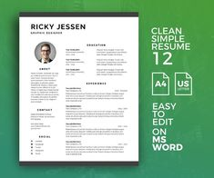 Clean and Simple Resume Template Help you create a good resume to apply for a job. And hope this resume can help you Simple Resume Template, Resume Design Template, Cv Template, Resume Templates, Design Templates, Best Resume, Resume Tips, Resume Cv, Resume Examples