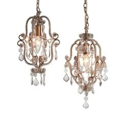 GORGEOUS SET OF2 CHIC SHABBY ANTIQUE GOLD BEADED PETITE CHANDELIER,8'' X 11''H. #Unbranded