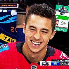 """Boy, finally allowed to stay past bedtime NHL All-Star Skills Competition, "" Johnny Gaudreau, Hockey Baby, Hockey Cards, Fine Men, Hockey Players, Ufc, Calgary, Athletes, All Star"