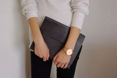 oversized clutch But mostly the oversized gold tone watch!