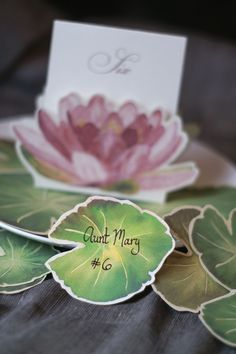 Lily Pad Leaves-Small Sized -  Prints of Original Watercolors  Wedding Place cards - Escort Cards.   We would like the water- lilies in turquoise blue for the reception.