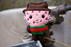 Felt Freddy Krueger  Pocket Plush Toy by nuffnufftoys on Etsy, $14.00