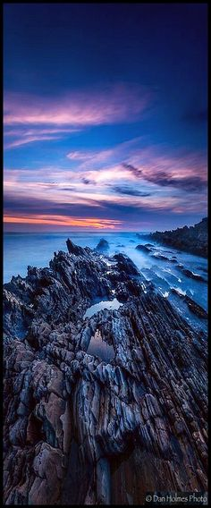 Dusk at Jagged Point - California - spot on California's Central Coast #photo by Dan Holmes #amazing landscape sky sunset clouds sea lake beacg cliffs stones nature
