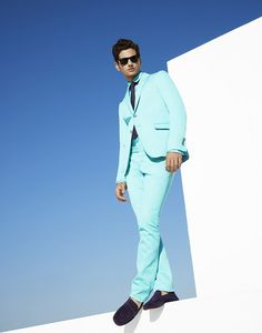Aqua blue suit