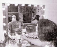 KISS: Paul Stanley applying makeup in New York City, 1974.