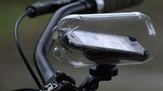 DIY rain-proof mount for iphone on bike.