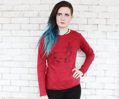 Cat with Unicorn Horn Long Sleeved Cotton by CausticThreads